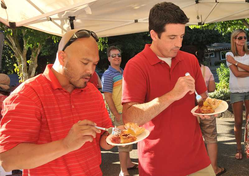 by: TIDINGS PHOTO: VERN UYETAKE - Portland chef Adam Kekahuna and KGW reporter Drew Carney were deemed celebrity judges.