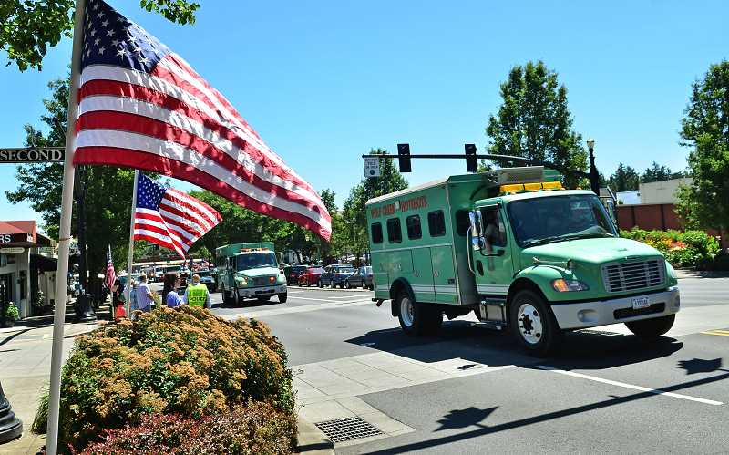 by: VERN UYETAKE - The Wolf Creek Hotshots participated in the procession in honor of West Linn fallen firefighter John J. Percin. Jr.