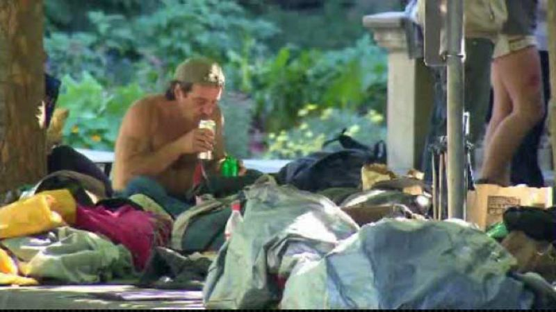 by: KOIN LOCAL 6 - Campers outside City Hall drink, smoke pot all day.