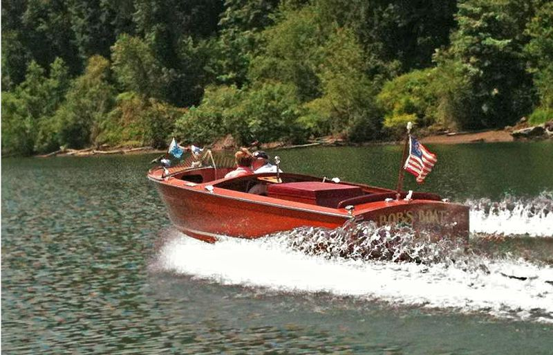 by: SUBMITTED PHOTO - Charbonneau resident Robert Alton, above, is entering this 1954 Chris Craft Mahogany powerboat in this weekends Concours dElegance classic car show in Forest Grove.