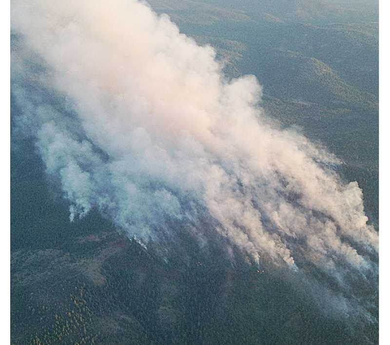 by: SUBMITTED PHOTO - The Box Springs Fire doubled on Monday to 240 acres, but was stable and 50 percent contained by Wednesday morning.