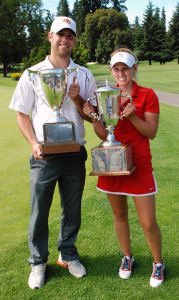 by: OGA - Kendall Prince, right, holds the trophy she won at this year's Oregon Amateur next to mens' winner Nick Chianello.