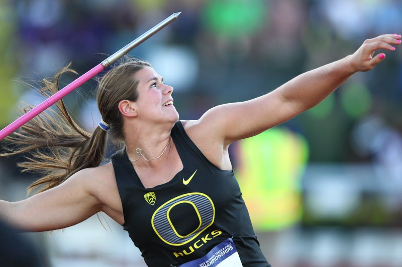 by: COURTESY PHOTO: ERIC EVANS  - Former Jesuit Crusader Liz Brenner picked up an All-American nomination in her NCAA javelin debut with a 168-00 mark (the first time shed thrown the javelin in two years)