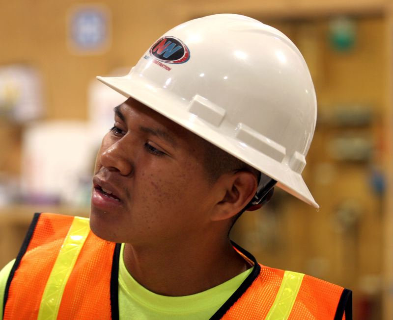 by: OUTLOOK PHOTO: JIM CLARK - Bryan Pacheco, 19, was released from Rogue Valley Youth Correctional Facility late last month and sees the construction camp as way to move his life forward and explore the trades. This fall, he plans to enroll in the mechanic program at Mt. Hood Community College.