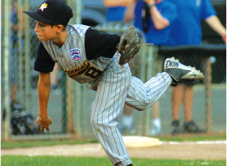 by: GRESHAM OUTLOOK: DAVID BALL - Centennial starter Frankie Porter Jr., lets loose with a pitch during Wednesdays 13-10 championship win over Barlow.