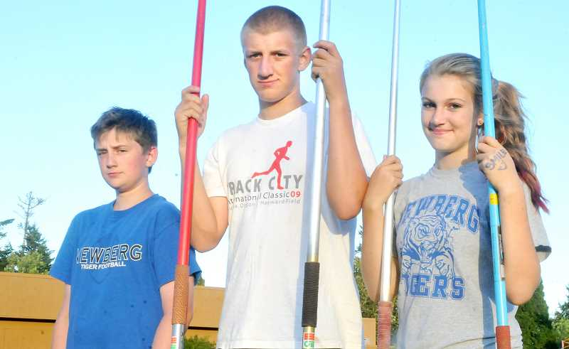 by: SETH GORDON - A throwing clan - (From left to right, top photo) Siblings Branko, Hap and Lala Frketich have made a name for themselves as a family on the youth track and field circuit over the past five years, with Hap and Lala both qualifying in the javelin for the upcoming Junior Olympic national championships in Greensboro, N.C.