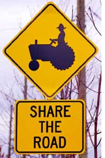 There are no such signs on Clackamas County roads in the Molalla area -- but there should be.