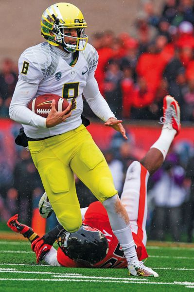 by: TRIBUNE FILE PHOTO: CHRISTOPHER ONSTOTT - Marcus Mariota, the Oregon Ducks returning starter at quarterback, says he learned from watching Alabamas A.J. McCarron at a summer camp.