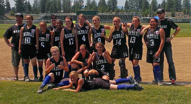 by: CONTRIBUTED PHOTO - The Jefferson County junior softball team, seen here after a win at the district tournament in Bend, finished the state tournament in third place.