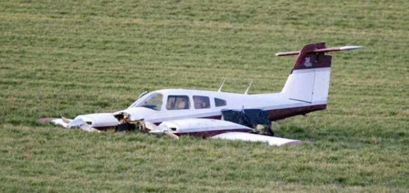 by: FILE PHOTO - The two occupants of this Piper Seminole walked away from an October 2011 crash over Champoeg State Park.