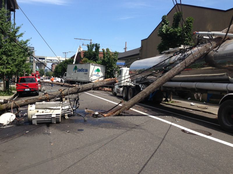 by: PORTLAND FIRE & RESCUE - No one was injured in this dangerous looking accident Tuesday morning.