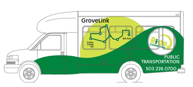 by: COURTESY GRAPHIC: RIDE CONNECTION - The two new, 14-passenger GroveLink buses will feature this sleek design, which is meant to represent the sun setting (or rising) behind a green hill.