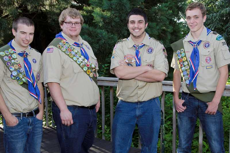 by: SUBMITTED PHOTO - From left, Jonathan Breen, Daniel Dyer, Nicholas Cupparo and Neil Olson recently completed their Boy Scout Eagle Service Project.