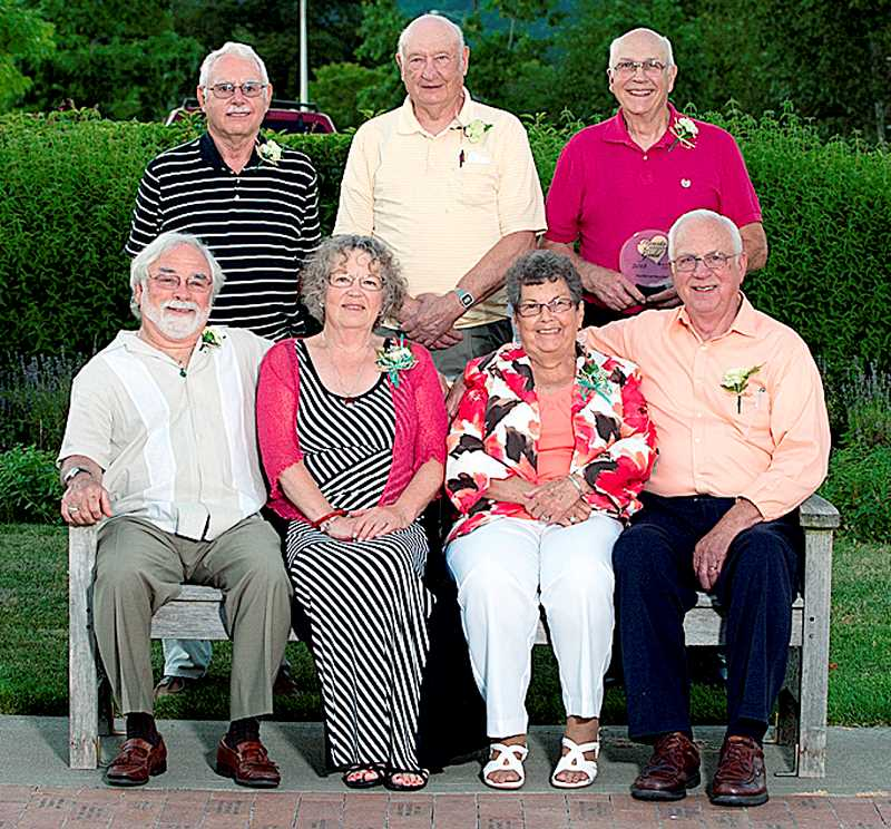 by: SUBMITTED PHOTO - Recognized for their service - Hearts of Gold recipients are (back row) Retired Recyclers Jim Kolbert, John Kalenda and Rex McElwain, and (front row) Walter and Julie Want and Roberta and Ray Simonsen.