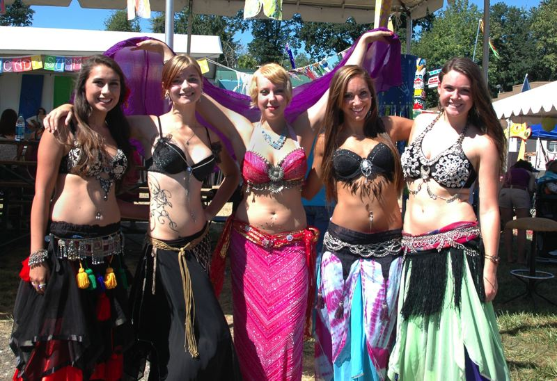 by: ISABEL GAUTSCHI - Tia Powers, Faith Ross, Elizabeth Soots, Sarah Sjaastad and Amanda Guthu of Tribella Belly Dance posed for a photo after their performance.