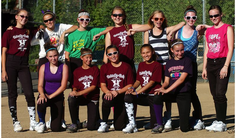 by: DAN BROOD - READY TO GO -- Members of the Tualatin City team that will be playing in the Little League Softball World series includes (top row, from left) Ella Hillier, Lindsay Stadick, Elizabeth Hillier, Noelle Sawyer, Camille Hall, CheyAnn Lang, Kendra Gooding, (bottom row) Maddie DeVerna, Savannah Braun, Lily Marshall, Kendra Zuckerman and Samantha Teran.