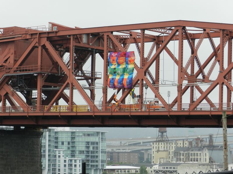 by: PHOTO COURTESY: CHARLIE VAWTER - The project Bridge for Blankets, helping celebrate the 100th year of the Broadway Bridge, includes 1,512 one-foot squares. Organizers of the project are part of a Broadway block party, Aug. 10; for info, go to pdxbridgefestival.org.