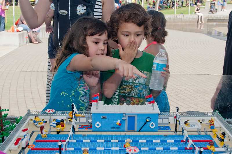 by: JOSH KULLA - The Lego table sponsored by United Meridian Church of Christ, which included an Olympic-sized swimming pool, was a nonstop hit with children.