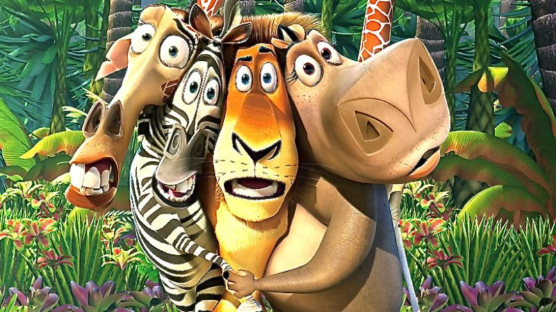 "by: CONTRIBUTED PHOTO - Contributing to the animal antics in the film ""Madagascar"" are, from left, Melman the giraffe, Marty the zebra, Alex the lion and Gloria the hippopotamus."