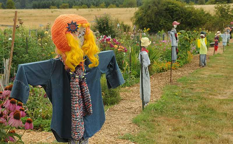 by: VERN UYETAKE  - A line of scarecrows keeps the peace.