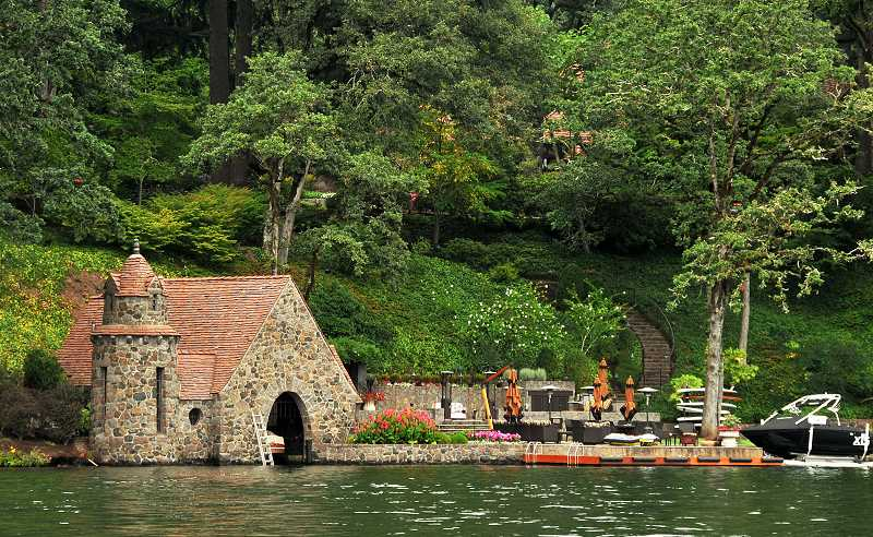 by: VERN UYETAKE - Renowned architect Richard Sundeleaf designed this boathouse on the Jantzen estate, where some residents worry a proposed new entertainment cabana and tram could overwhelm historic buildings.