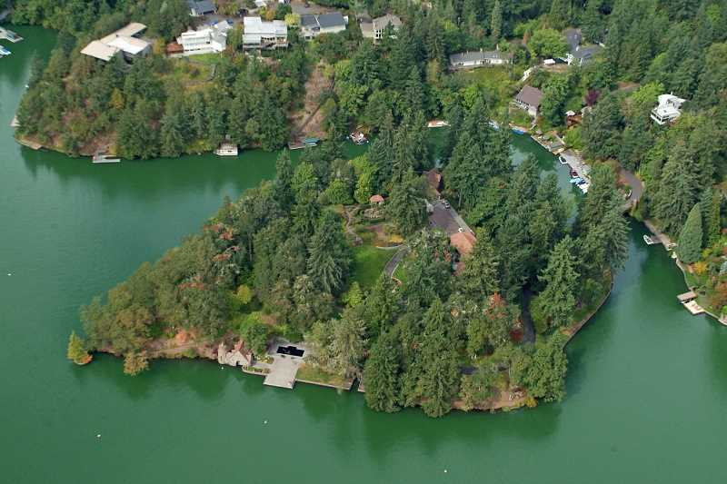 by: SUBMITTED - The Jantzen estate, on an island in Oswego Lake, is one of the most unusual and possibly the most historically significant residential property in Lake Oswego.