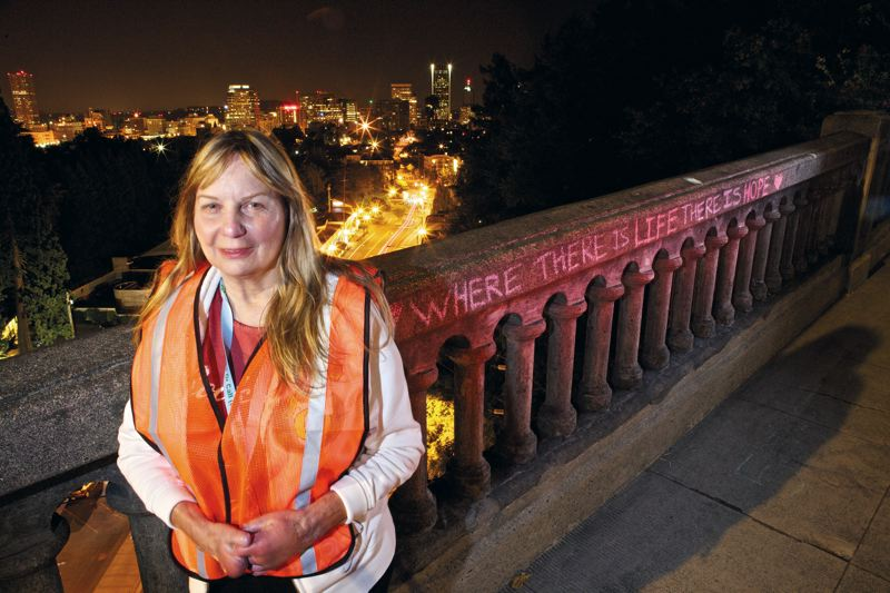 by: TRIBUNE PHOTOS: JAIME VALDEZ - Janet Schumacher is a volunteer with Friends of the Vista Bridge who patrols the Vista Bridge to prevent people from committing suicide.