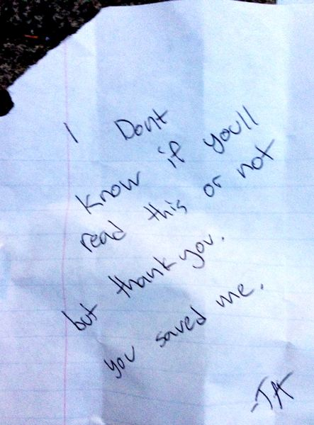 by: SUBMITTED PHOTO - A note found by volunteer Janet Schumacher on Vista Bridge one morning last week.