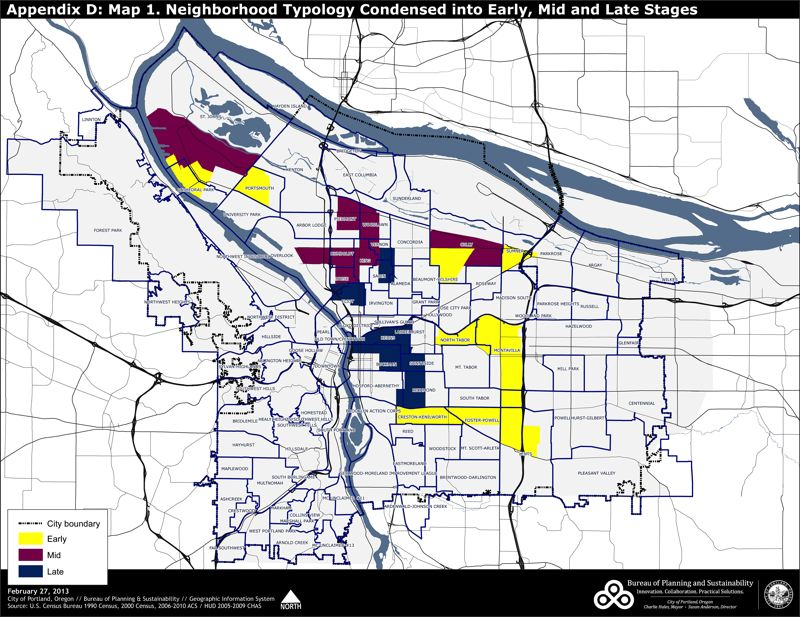 by: COURTESY PORTLAND BUREAU OF PLANNING AND SUSTAINABILITY - Neighborhoods in yellow are seeing early warning signs of gentrification, according to a new city study. Those in magenta are in the dynamic or middle phase of gentrification and those in blue are in the late stages.