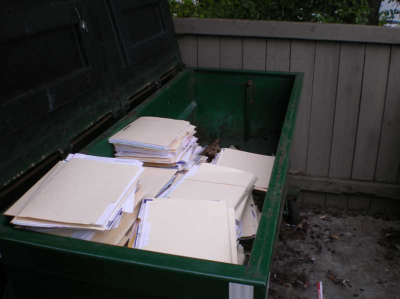 by: SUBMITTED PHOTO - Beaverton police recovered seven large boxes of client files in a Dumpster behind Sylvan Learning Center.