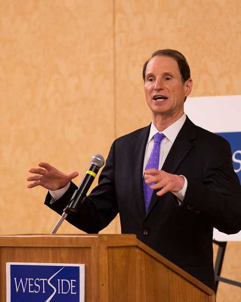 by: TIMES PHOTO: CHASE ALLGOOD - U.S. Sen. Ron Wyden speaks Monday during a Westside Economic Alliance forum in Tigard. Among other things, Oregon's senior senator pledged to push for reforms to Medicare when he returns to Washington, D.C.