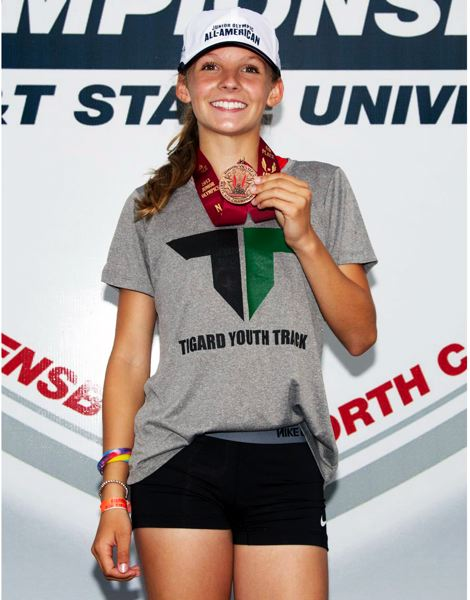 by: SUBMITTED PHOTO - Lauren Pavin of the Tigard Youth Track Club placed sixth in the 800-meter run at the USATF National Championships held in North Carolina.