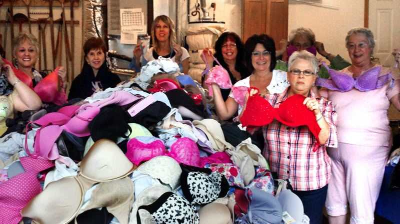 by: CONTRIBUTED PHOTO: GRESHAM SOROPTIMISTS - Gresham Soroptimists sorted and packed 2,265 bras last week in the basement of member and project chairwoman Liz DelPlato. The bras will go to the nonprofit organization Free the Girls.
