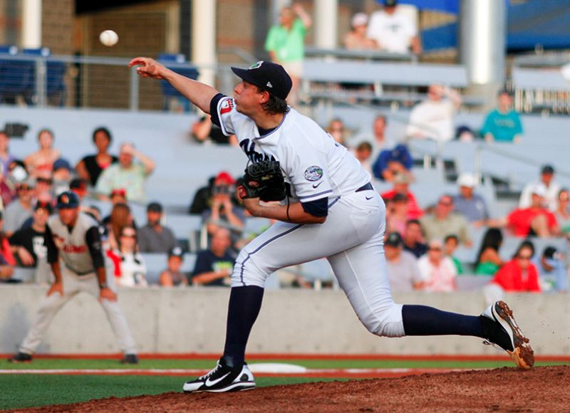 by: HILLSBORO TRIBUNE PHOTO: CHASE ALLGOOD - Hillsboro Hops pitcher Aaron Blair throws out a pitch during the Hops' loss to the Salem-Keizer Volcanoes Tuesday, August 13th, 2013.
