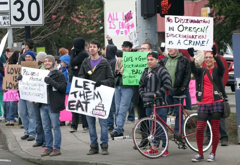 by: OUTLOOK FILE PHOTO - Supporters of same-sex marriage demonstrated near Sweet Cakes by Melissa on Saturday, Feb. 8.