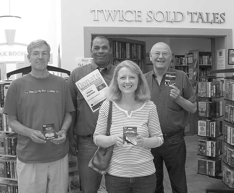 by: SUBMITTED - The Wilsonville Friends of the Library-Wilsonville Chamber July Partner drawing was held recently, with the winners receiving $20 gift certificates to O'Reilly Auto Parts. Pictured, from left, are Steve Patterson, O'Reilly's Manager Larry Thomsen, Dana Keith and Bill States. Winners not pictured are Wendy DeHart, Jim Prospera, Laura Hansen, Rod Johanson, Larry Nielsen, Roberta Smith and Mike Williams. Julys raffle had an unprecedented number of entries exceeding 100, 105 to be exact.