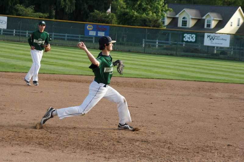 by: PHIL HAWKINS - Canby alumnus Austin Piert, a first-team all-league shortstop in the Three Rivers League as a junior, will continue his baseball career at Linfield College in McMinnville. Above, Piert makes a throw during a summer game with the North Willamette Valley team in the American Legion ranks.