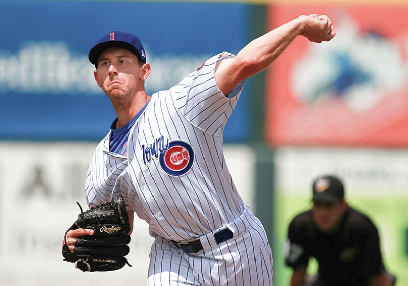 by: COURTESY PHOTO: DYLAN HEUER/IOWA CUBS - Former Forest Grove pitcher Zac Rosscup, now at the Triple A level with the Iowa Cubs, throws a pitch during a game last week.