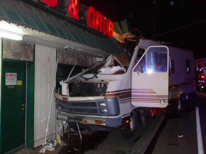 by: CONTRIBUTED PHOTO: CLACKAMAS COUNTY SHERIFFS OFFICE - This motorhome was reported intentionally crashed into a tavern/restaurant in Boring at 2 a.m. Saturday, Aug. 24.