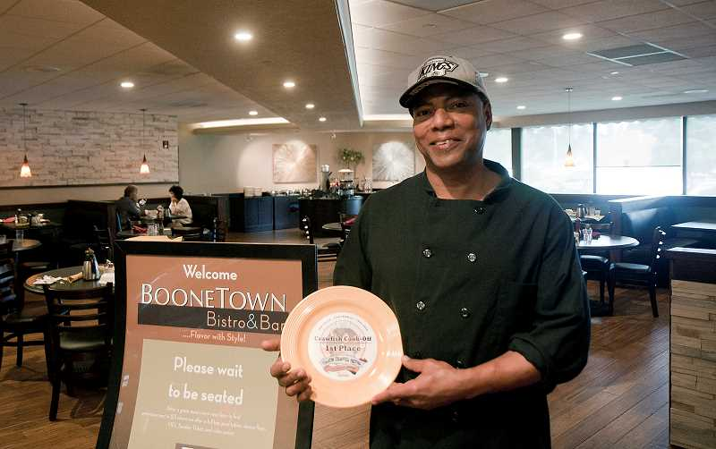 by: WILSONVILLE AREA CHAMBER OF COMMERCE - Chef Terry Farrar took home top honors at the Tualatin Crawfish Festival mystery box cook-off challenge. He is chef at Holiday Inns BooneTown Bistro and Bar.