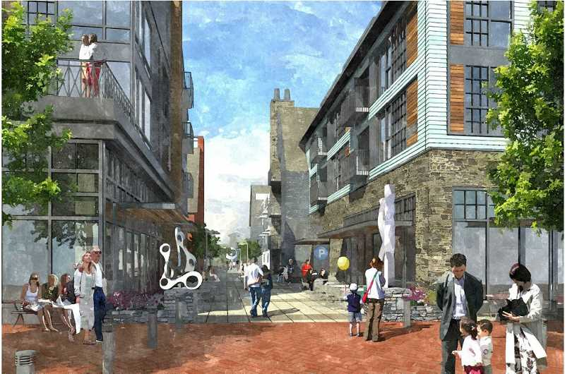 by: ZGF ARCHITECTS - A pedestrian street would run through the proposed redevelopment of the Wizer block downtown.