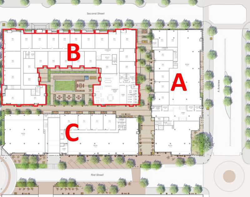 by: ZGF ARCHITECTS - This plan shows the layout of three buildings in the proposed redevelopment of the Wizer property downtown. Each would represent a different architectural style. One would be entirely residential, while the other two would feature a mix of rental housing and retail offerings.