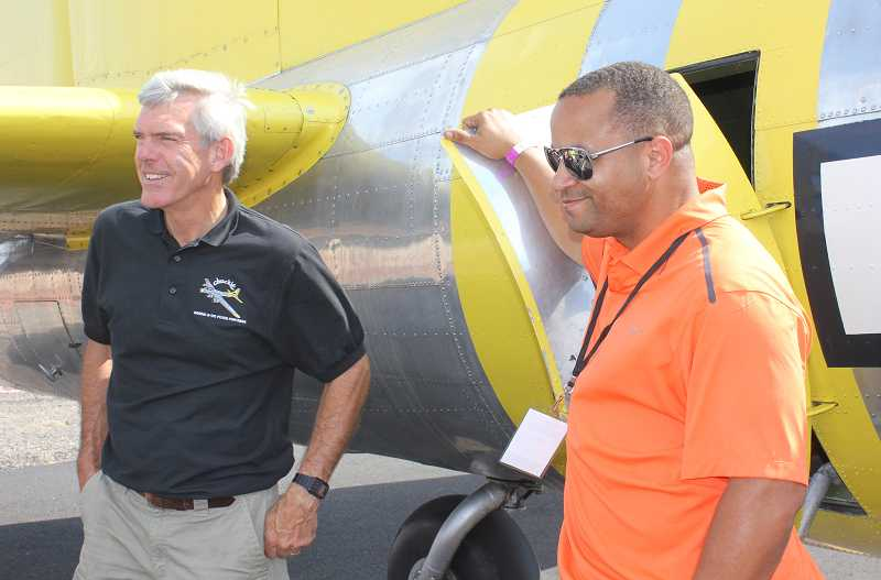 Pilot Brent Connor, left, and co-pilot Mike Oliver, flew the B-17.