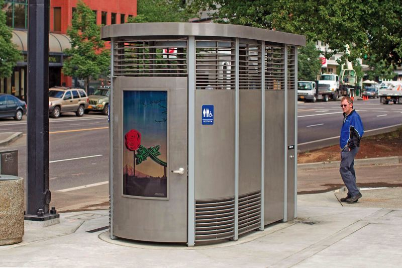 (Image is Clickable Link) by: TRIBUNE FILE PHOTO - A Portland Loo installed three years ago in downtown, cost nearly $90,000 to build. Portland is suing a Roseburg company to stop production of similar outdoor toilets that could sell to other cities for less than half the price.