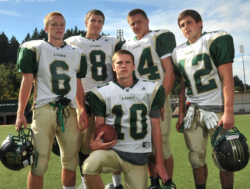 by: VERN UYETAKE - From left: Braden Vogt, Kevin Edwards, Hayden Coppedge, Cam Schmitz and Louie Germain all figure to play key roles for a West Linn team that could be among the most improved in the league this year. The experienced Lions hope to be among one of the top teams in the TRL again this season.
