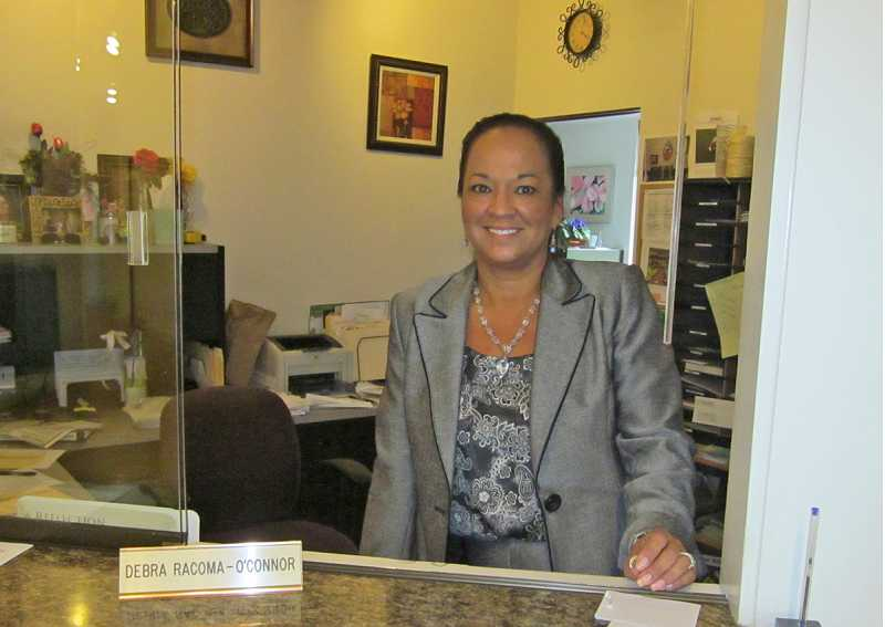 by: BARBARA SHERMAN - SERVICE WITH A SMILE - Debra Racoma-O'Connor, who started working for the King City Civic Association in November 2008, is beloved by the residents and has promised she will come back to visit.