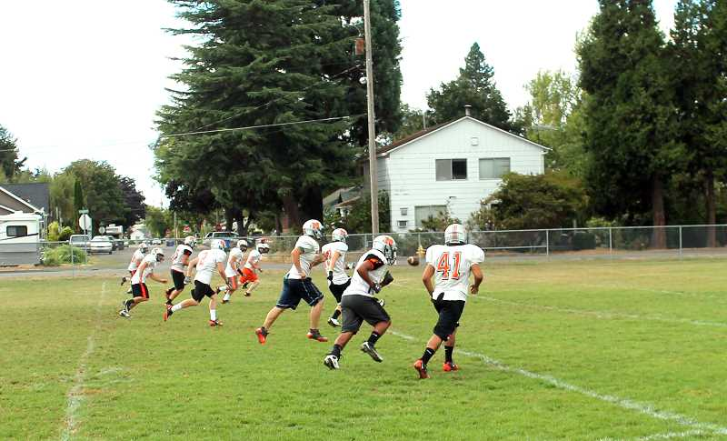 by: CORY MIMMS - The Indians on the practice field. Their first home game is on Friday, Sept. 6, at 7 p.m.