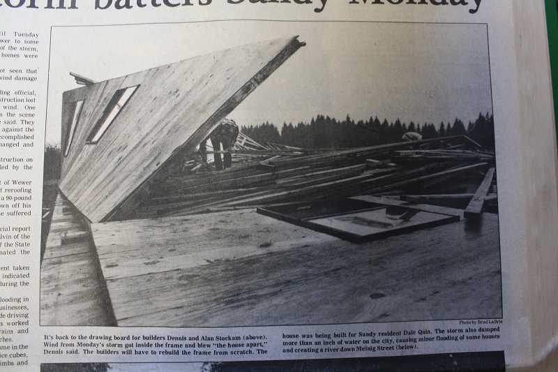 by: ARCHIVED PHOTO - A Sandy Post front page photo from Aug. 23, 1979, gives evidence of the damage caused by what the Post called a violent storm, while others say it was in fact a tornado.