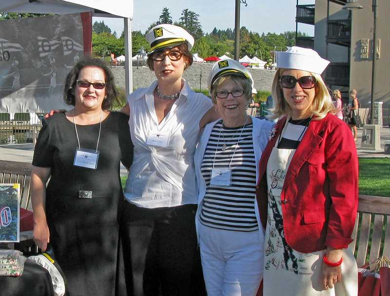 by: SUSANNA KUO - Four happy sailors are ready for the 2013 Lake Oswego Historical Boat Tour. From left are Erin O'Rourke-Meadors, Marylou Colver, Emogene Waggoner and Bonnie Kroft.