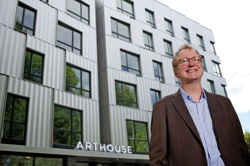 by: TRIBUNE PHOTO: JAIME VALDEZ - Pacific Northwest College of Art President Tom Manley stands outside the new ArtHouse student residence hall on the North Park Blocks.
